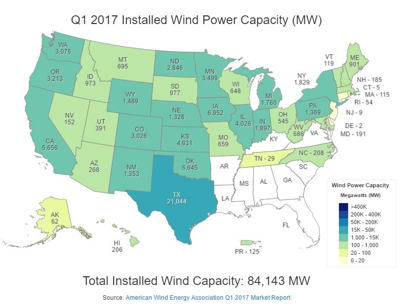 The southeastern U.S. really is something of a desert when it comes to wind power installations. But that's beginning to change.
