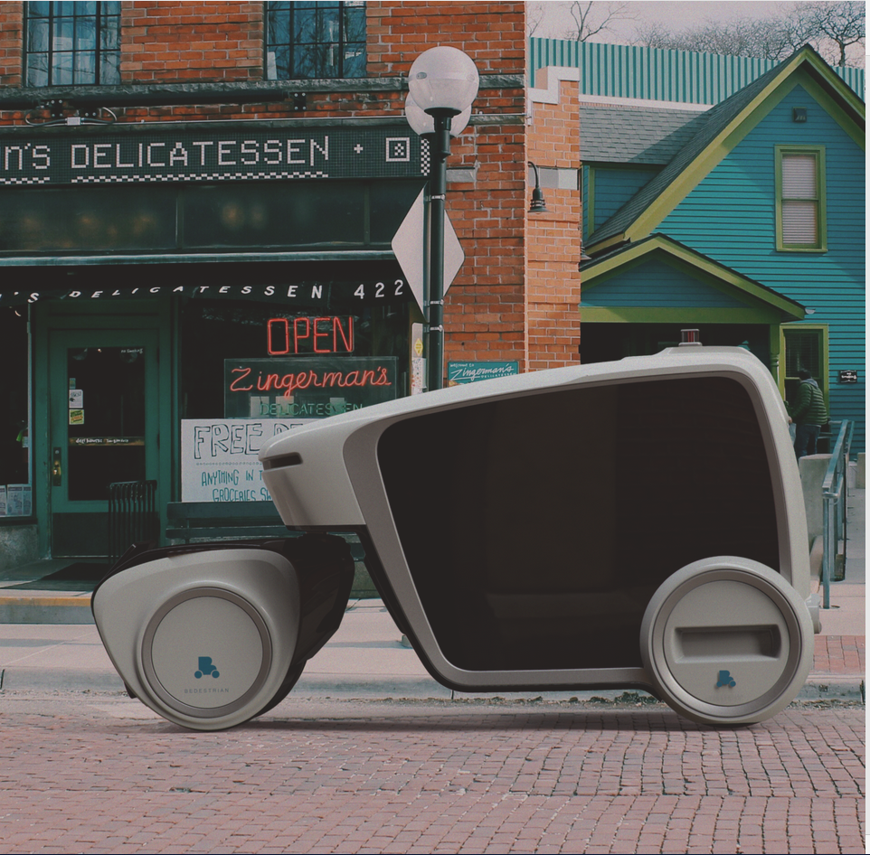 Bedestrian Futuristic Delivery Vehicle