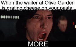 Waiter at Olive Garden grating cheese more meme