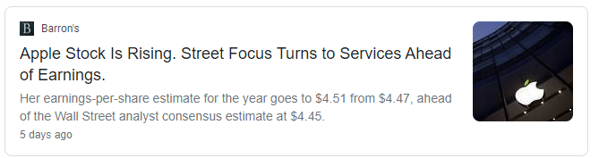 Image showing a news article talking about Apple's upcoming earnings from Barron's