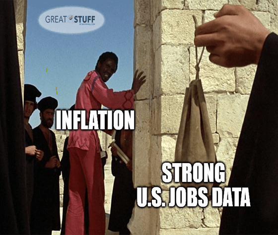 Inflation and strong U.S. jobs data JCS meme big