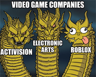 Video game company comparisons Roblox dragon meme