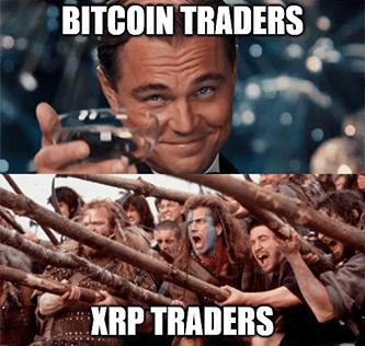 Bitcoin traders vs. XRP traders Ripple army meme