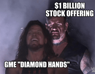 GME stock offering surprising diamond hands meme