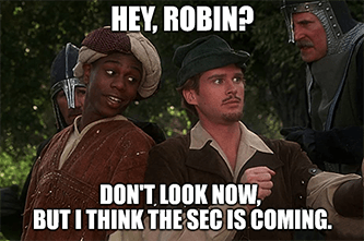 Hey Robin the SEC is coming meme